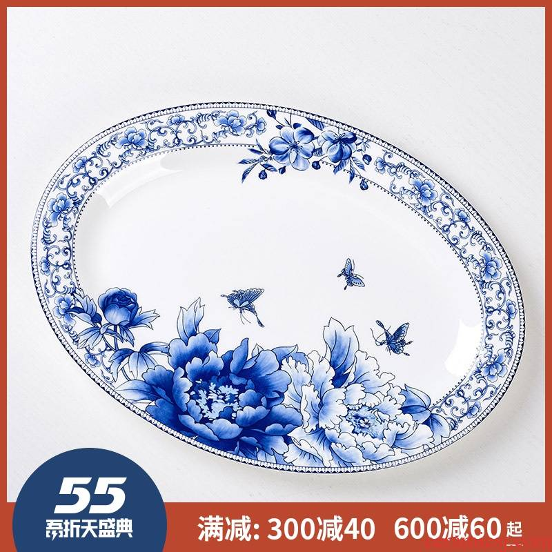 Large steamed fish dishes 12 - inch ipads porcelain of jingdezhen ceramics oval fish dish with the new