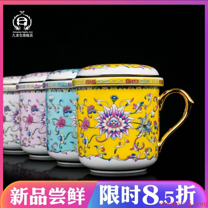 Chinese wind filter ceramic cups large appliance with the household jingdezhen colored enamel paint box office cup