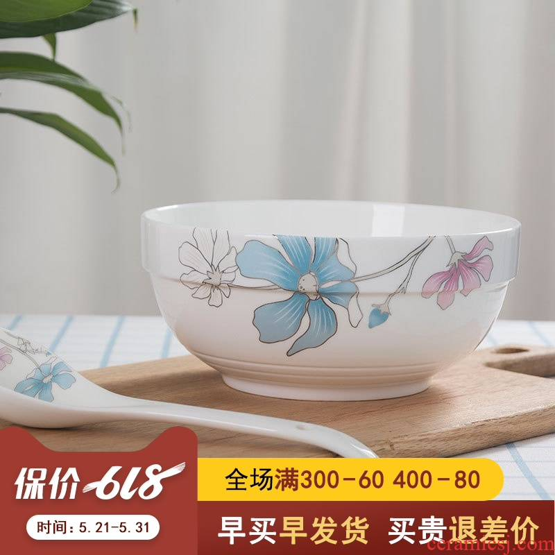 8 inches soup bowl LIDS, jingdezhen ceramic tableware a single large Chinese contracted household food dish of noodles bowl