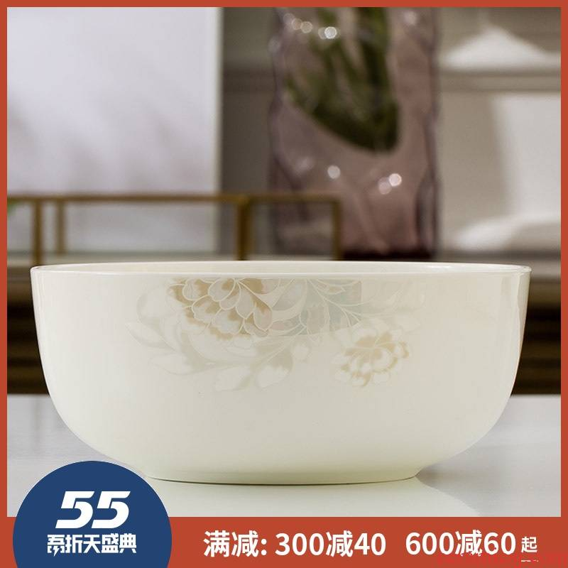 7 inch bowl 8 inch big bowl of jingdezhen ceramic terms rainbow such use salad bowl ipads porcelain Korean creative household microwave