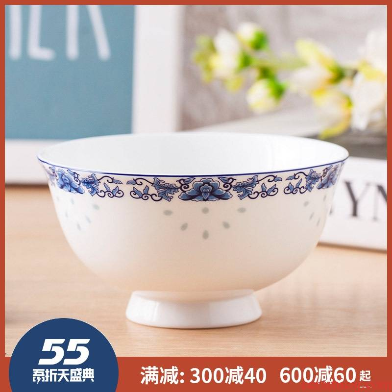 Jingdezhen prevent hot tall bowl to eat rice bowls a single bowl of blue and white ceramic bowl bowls set household ipads bowls