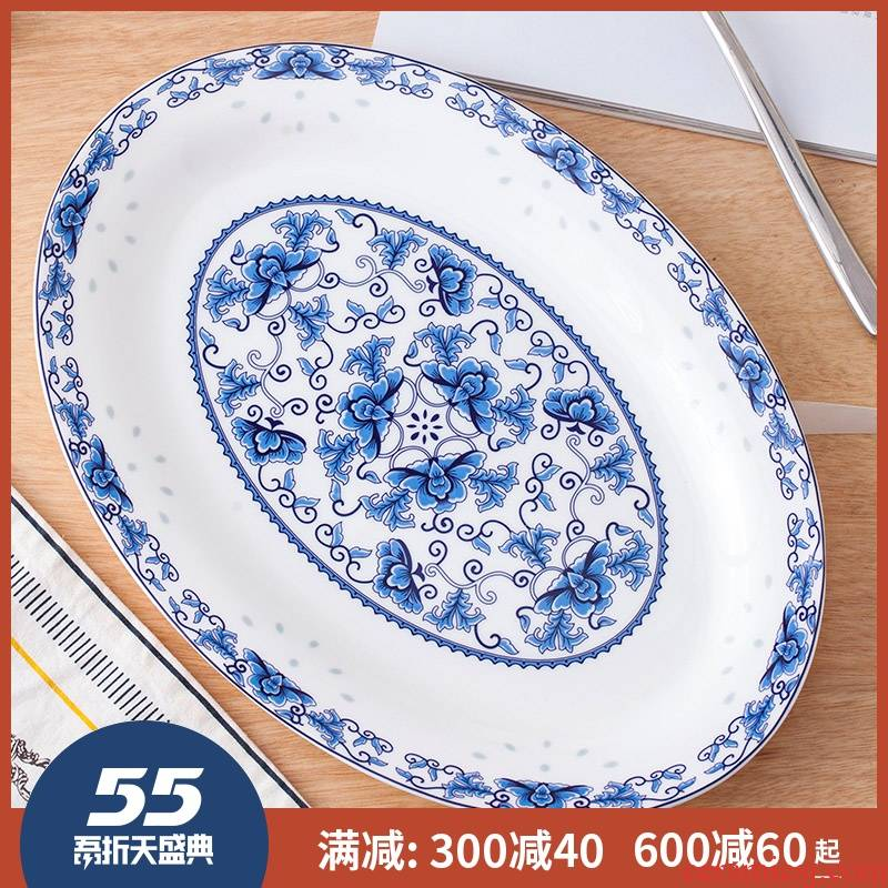 Steamed fish dishes of jingdezhen ceramic contracted ltd. green flower oval Chinese large fish plate of the new home