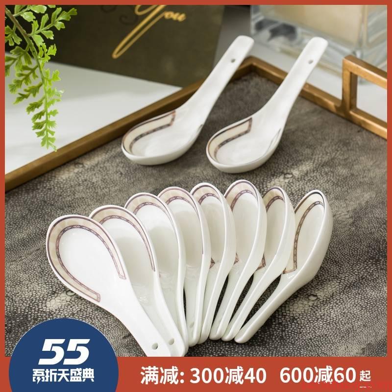10 jingdezhen ceramic tableware small spoon ladle ceramic spoon set a small spoon, spoon, household