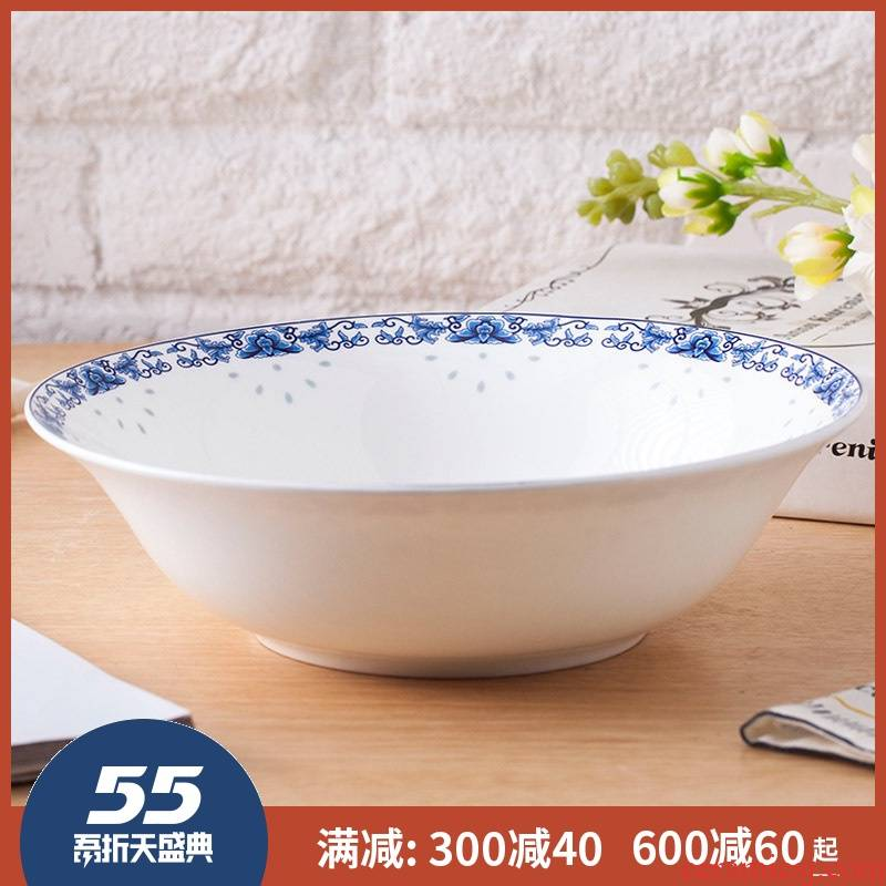 9 inches large soup bowl ipads China jingdezhen hat to big bowl of soup bowl Korean creative household combination of blue and white porcelain
