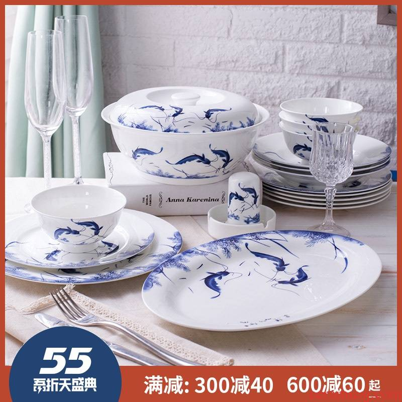 56 skull porcelain of jingdezhen ceramics tableware suit glair five - flavored fish dishes ten bowl, dish of blue and white porcelain