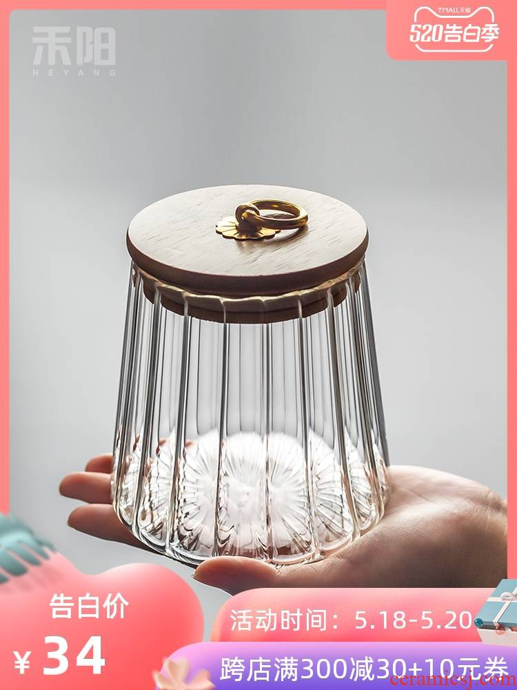 Send Yang petals glass tea pot puer tea tins bamboo caddy fixings cover household small portable sealed storage tank