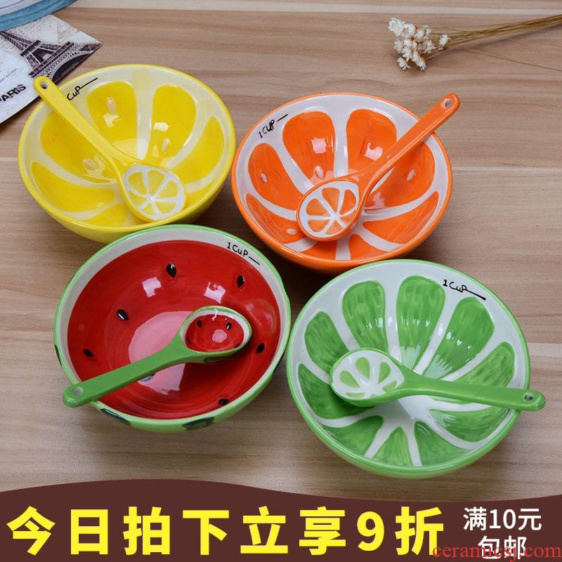 Use of cartoon creative fruit lemon ceramic tableware children home sweet watermelon orange suit single spoon, plate