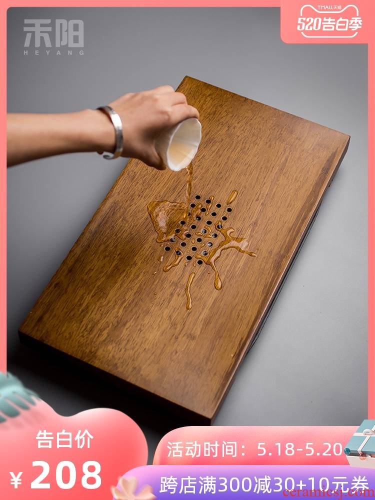 Send Yang Japanese heavy bamboo tea tray was water drainage large tea table drawer contracted household solid MuZhu tea sea