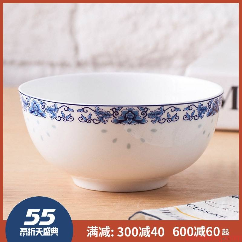 5 inch bowl of rice bowls jingdezhen ceramic ipads China 7 big bowl of soup bowl eight inches large soup bowl blue and white porcelain household size