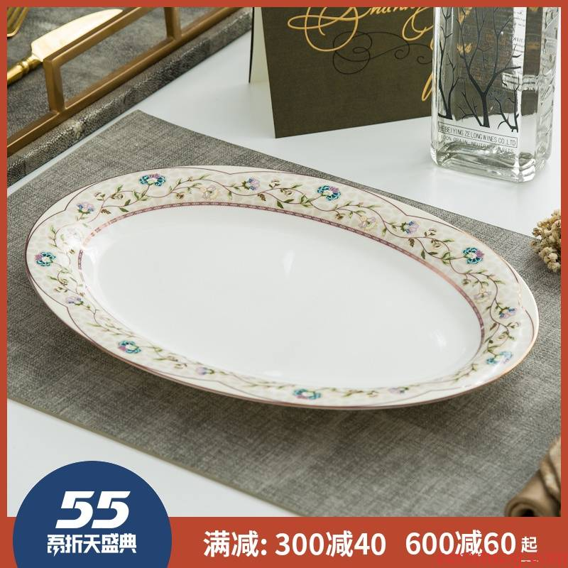 Large fish dish of jingdezhen ceramics 12 - inch ipads China steamed fish plate oval plate of the new creative household