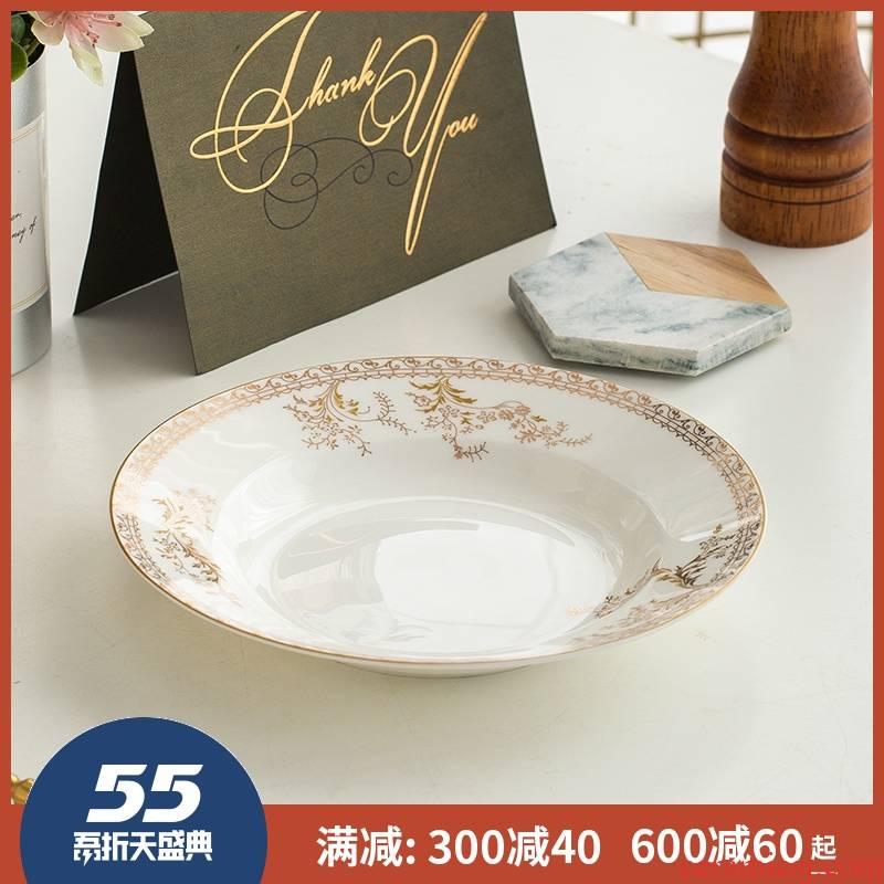 Ipads porcelain child up phnom penh creative ceramic disc plate beefsteak plate 8 inch 10 inch European - style soup plate deep dish