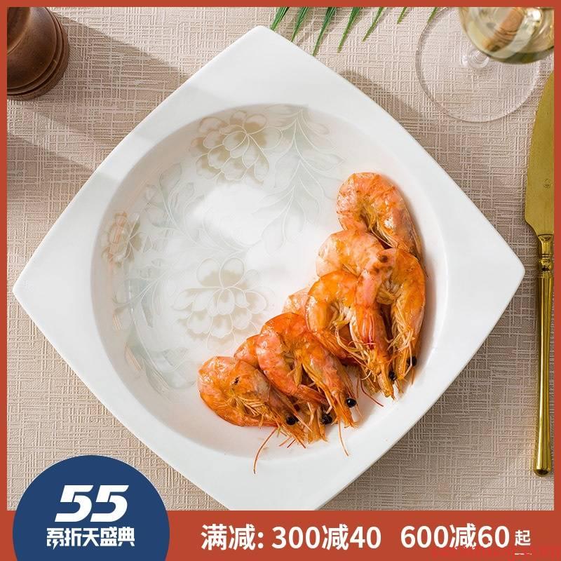 Creative ceramic ipads China plate plate plate beefsteak plate 8 inch 10 inch soup plate deep dish dish dish dish