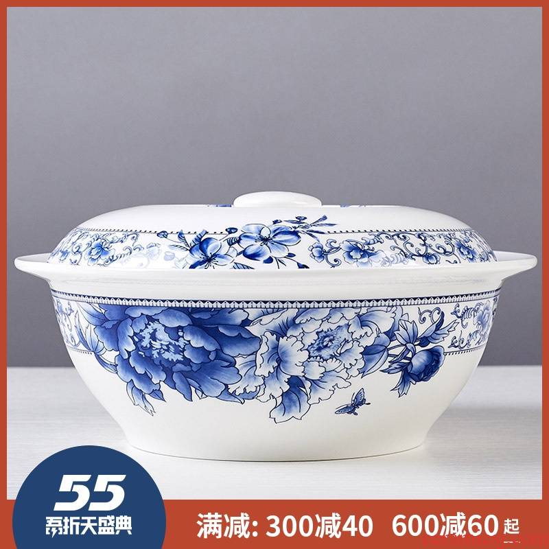 Ipads China big bowl soup pot nine inches pot soup pot microwave oven for jingdezhen ceramics with cover