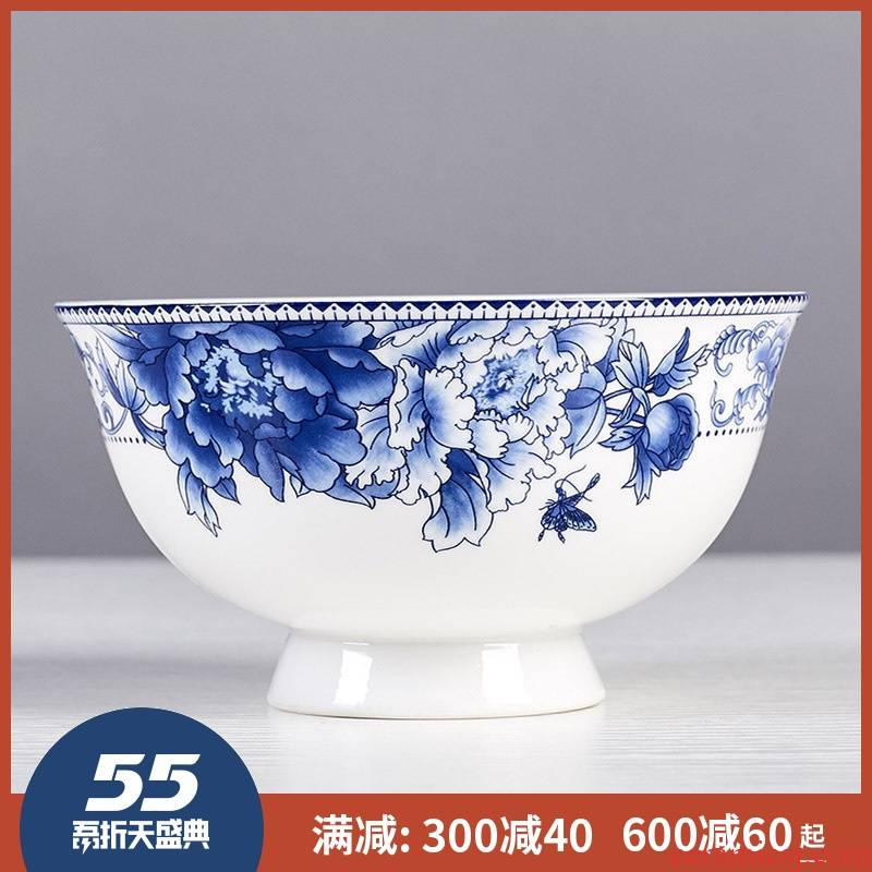 Jingdezhen eat bowl soup can prevent hot tall to use a single bowl of bowls of ipads plate tableware suit blue and white porcelain bowls of household