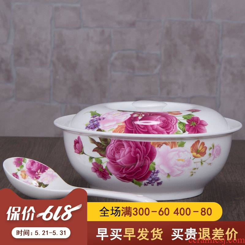Ceramic ipads China household utensils with cover bowl of soup pot is tasted special pan large rainbow such as bowl with soup spoon, microwave oven