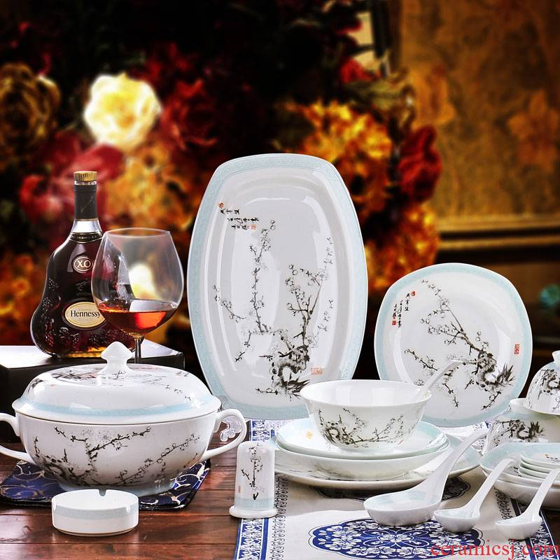 Red xin 56 head of jingdezhen ceramic tableware suit to use dishes Chinese style classical porcelain tableware tableware tableware
