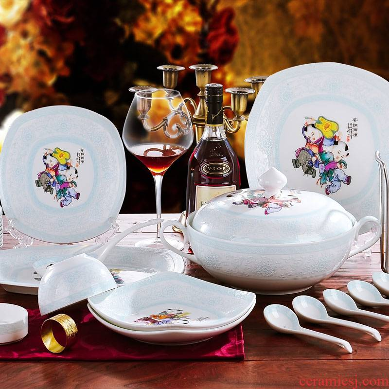 Red xin 56 head jingdezhen bowls of ipads plates classical Chinese porcelain tableware ceramics tableware