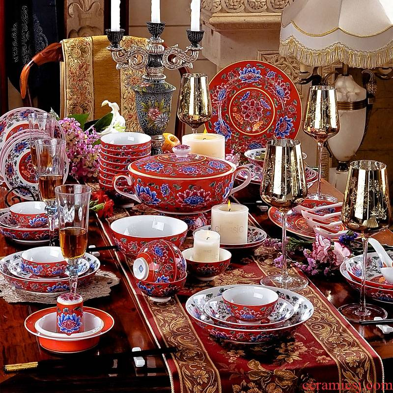 Red xin 79 head of jingdezhen antique Red ipads porcelain enamel pastel color emperor palace ceramics tableware suit dishes