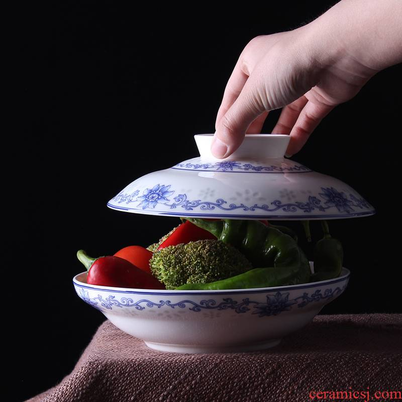 Jingdezhen ceramic and red xin 】 【 device under the blue and white glaze color tableware suit preservation bowl with cover plate