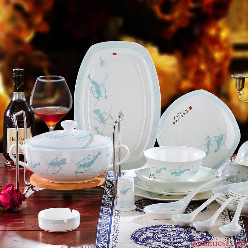 Red xin 56 head of jingdezhen ceramic tableware suit to use dishes Chinese porcelain tableware ceramic bowl classical dishes
