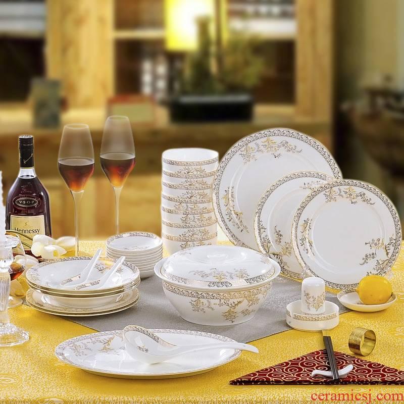 Red xin 56 skull porcelain tableware suit dish dish of jingdezhen porcelain tableware bowls ipads plate