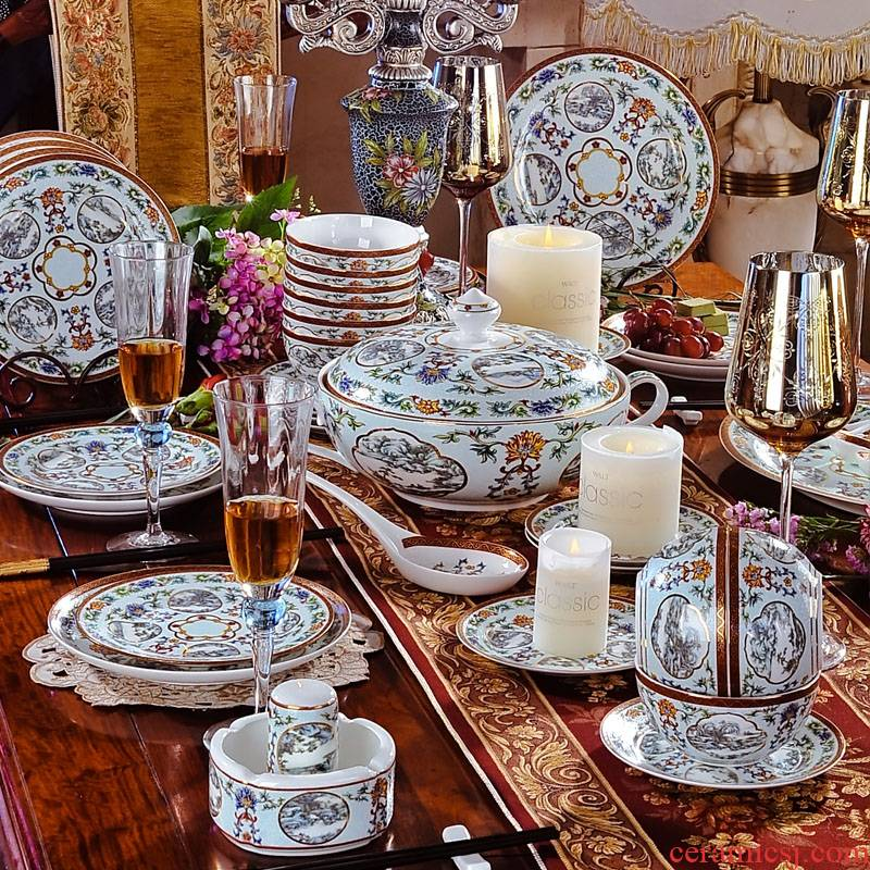 Red xin 61 head of jingdezhen porcelain tableware icing on the cake ipads cutlery set dishes European tableware ceramics
