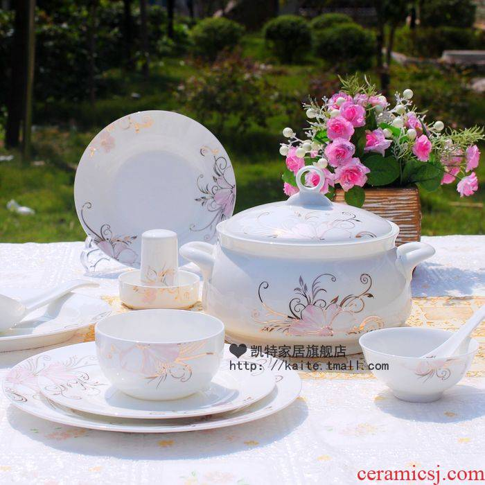 Jingdezhen ceramic bowl dish combination of household of Chinese style ipads porcelain tableware suit fashion simple north European dishes suit