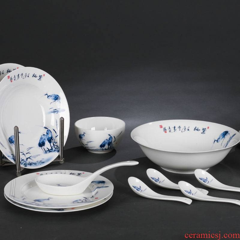 Red xin 28 the head master of jingdezhen ceramic tableware design egrets Chinese dishes