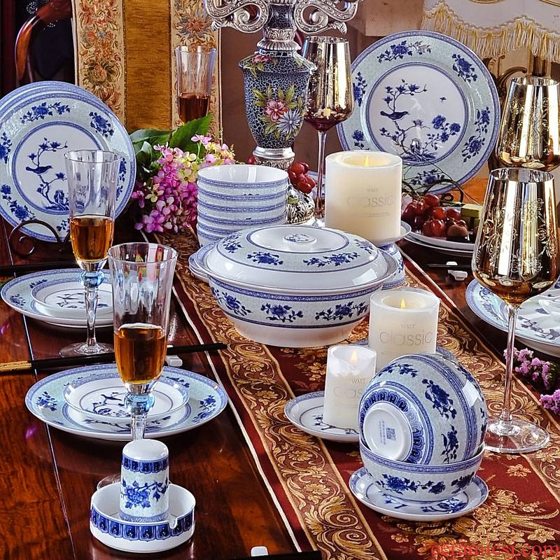 Red xin 56 head of archaize of jingdezhen blue and white ipads China tableware ceramics suit charactizing a fine spring day