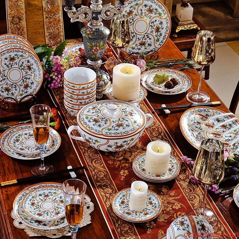 Red xin 56 head jingdezhen enamel pastel dishes European royal style tableware suit ceramics tableware