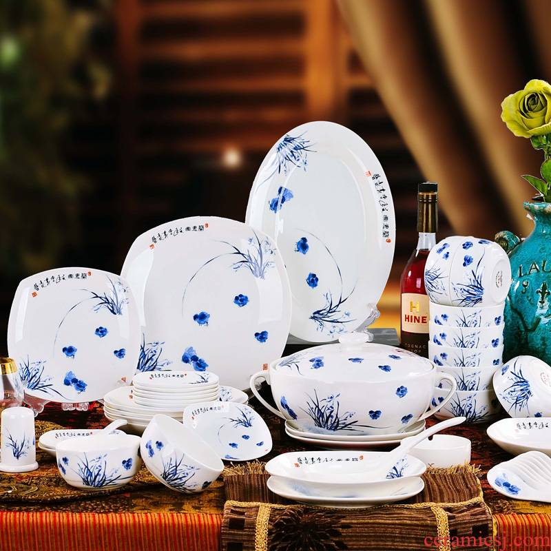 Red xin 56 head of jingdezhen ceramic tableware suit to use dishes Chinese porcelain tableware ceramic bowl of chicken
