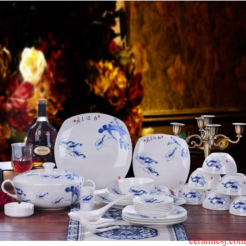 Red xin 56 head of jingdezhen ceramic tableware suit to use dishes Chinese porcelain tableware tableware ceramic bowl