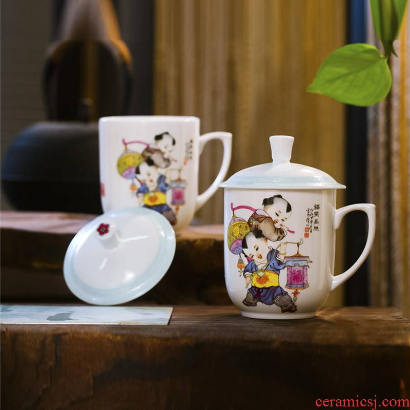 Red xin jingdezhen ipads porcelain cup with cover cup cup office auspicious gift of 4 times