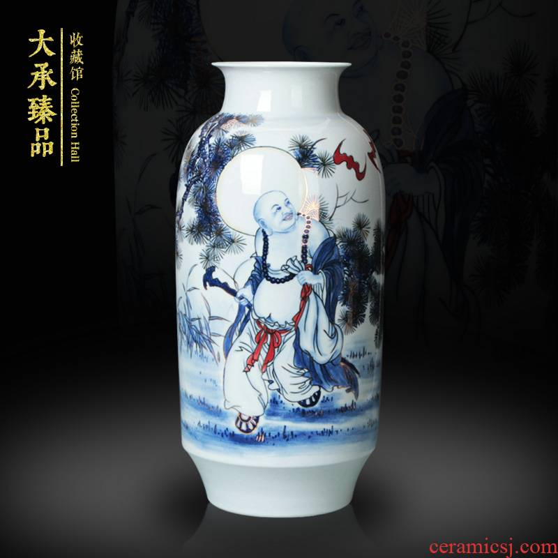 Jingdezhen ceramics vase hand - made paint ocean 's great blessing of blue and white porcelain vase modern household adornment furnishing articles