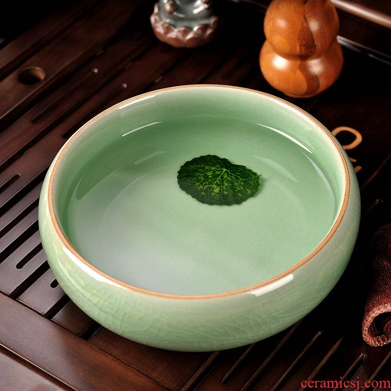 Sapphire hin ceramic writing brush washer wash bowl large kung fu tea set domestic cup XiCha wash water meng spare parts for the tea taking