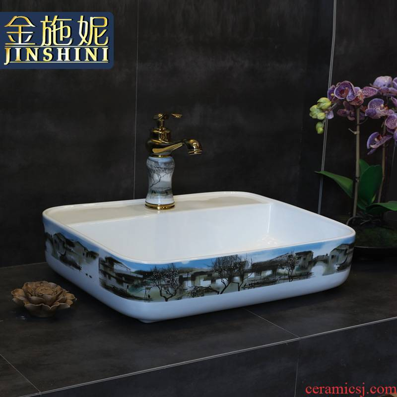 Gold cellnique retro Chinese blue and white ink art on the stage basin sink toilet basin the pool that wash a face ceramics