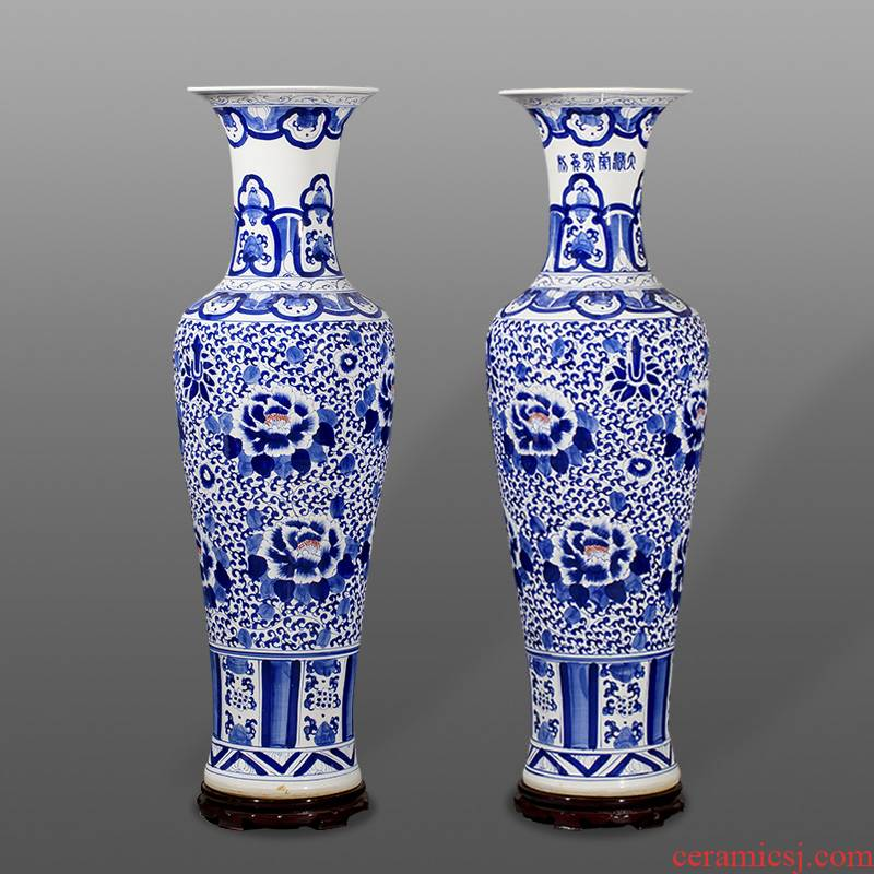Jingdezhen porcelain hand - made qingming shanghe landing big vases, ceramic decoration crafts are sitting room