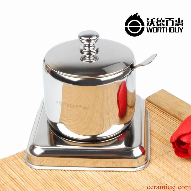 WORTHBUY consumption of 304 stainless steel seasoning bottles Korean salt monosodium glutamate pot seasoning bottle has a base