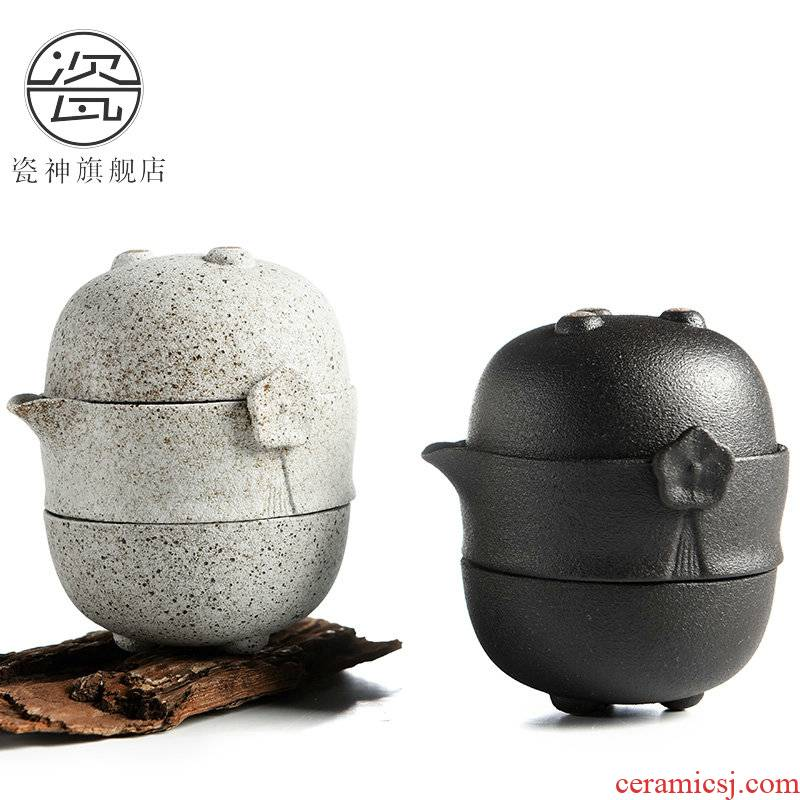 Japanese zen of black ceramic porcelain god travel kung fu tea set portable name plum guest crack cup a pot of two cup