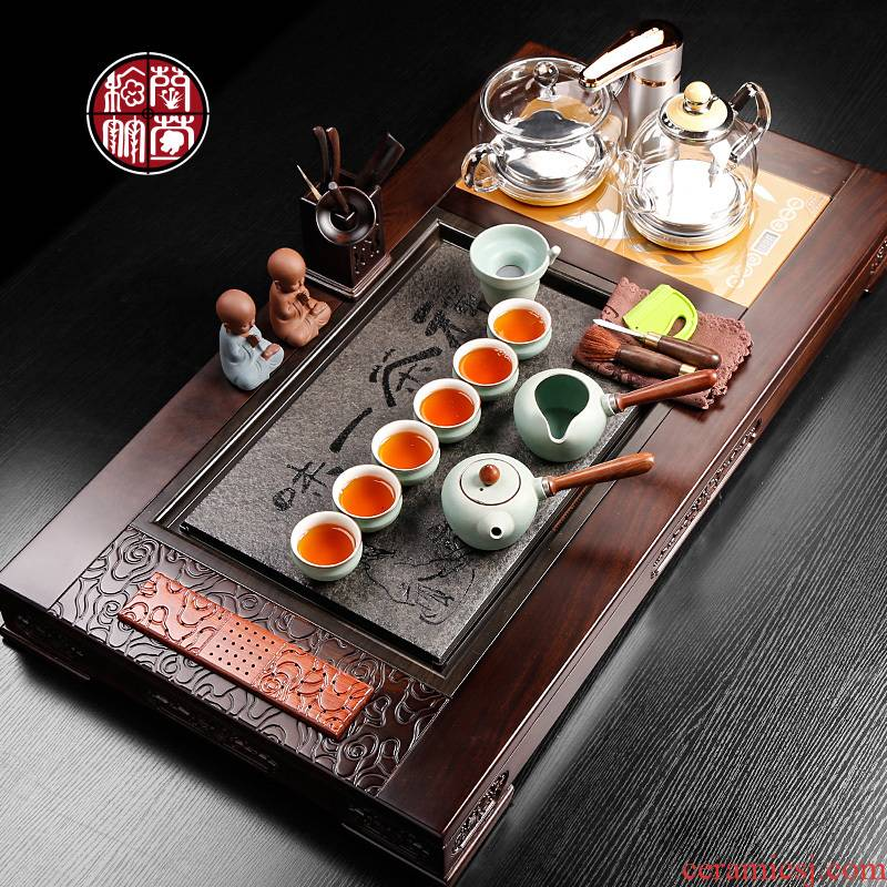 Tea set household contracted the and I with ebony sharply stone Tea tray induction cooker of a complete set of automatic four unity