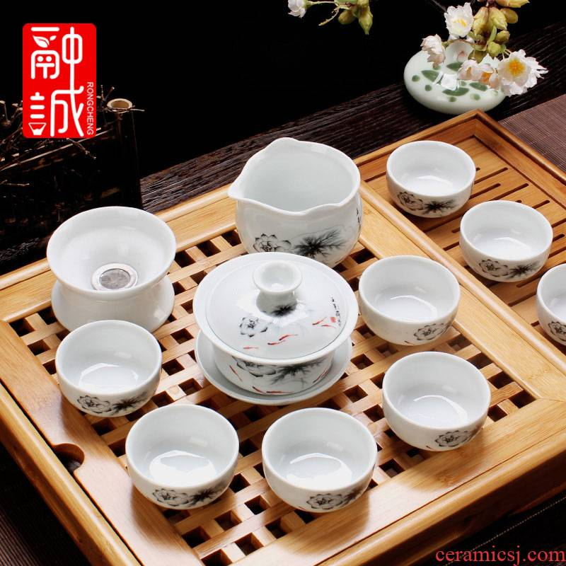 Kung fu tea tea ware ceramic tea set a complete set of blue and white office tureen household white porcelain tea set