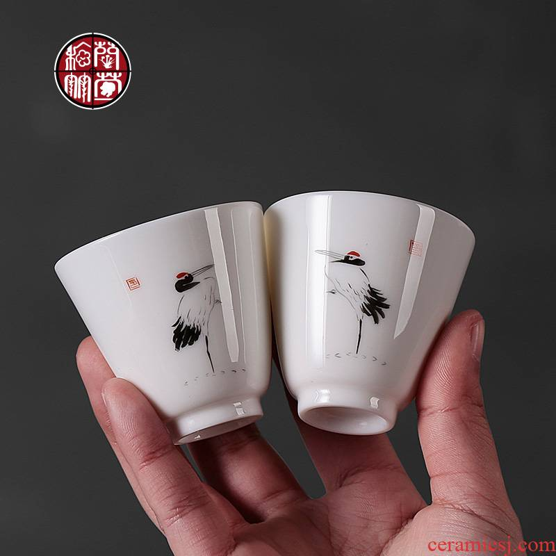 High white porcelain hand - made cranes single CPU individual small cup for cup kung fu tea tea lovers tea cups of ceramics