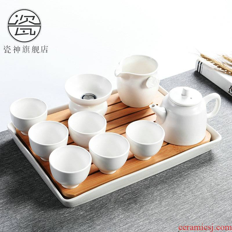 Porcelain ceramic small kung fu tea tray was god household utensils suit Japanese tea taking tea sea contracted the teapot tea cups