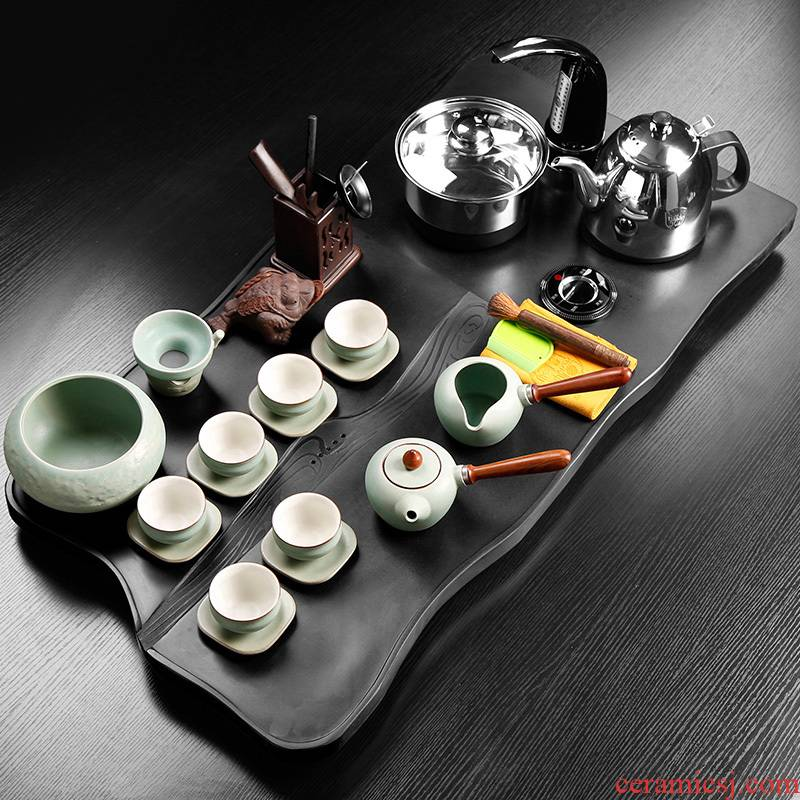 Sharply stone consolidation of large Chinese induction cooker one - piece retro tea tea set combination Taiwan office