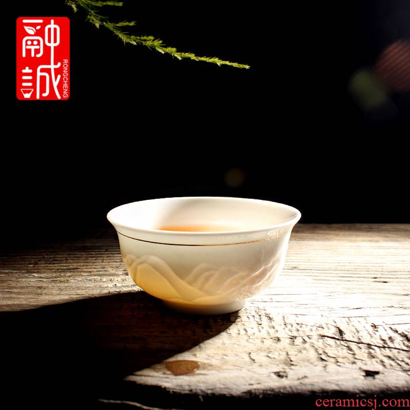 Melts if graven images single ceramic cups sample tea cup celadon embossment master kung fu tea cups porcelain tea set on sale