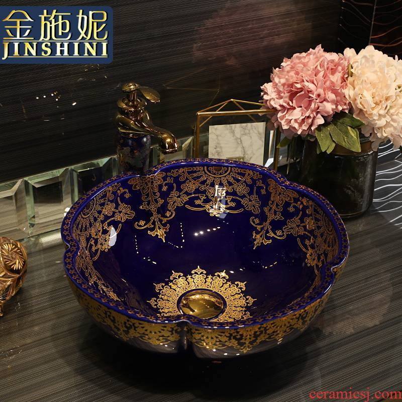Gold cellnique jingdezhen ceramic art on the stage basin bathroom sink European wind season basin Jin Wen blue lace