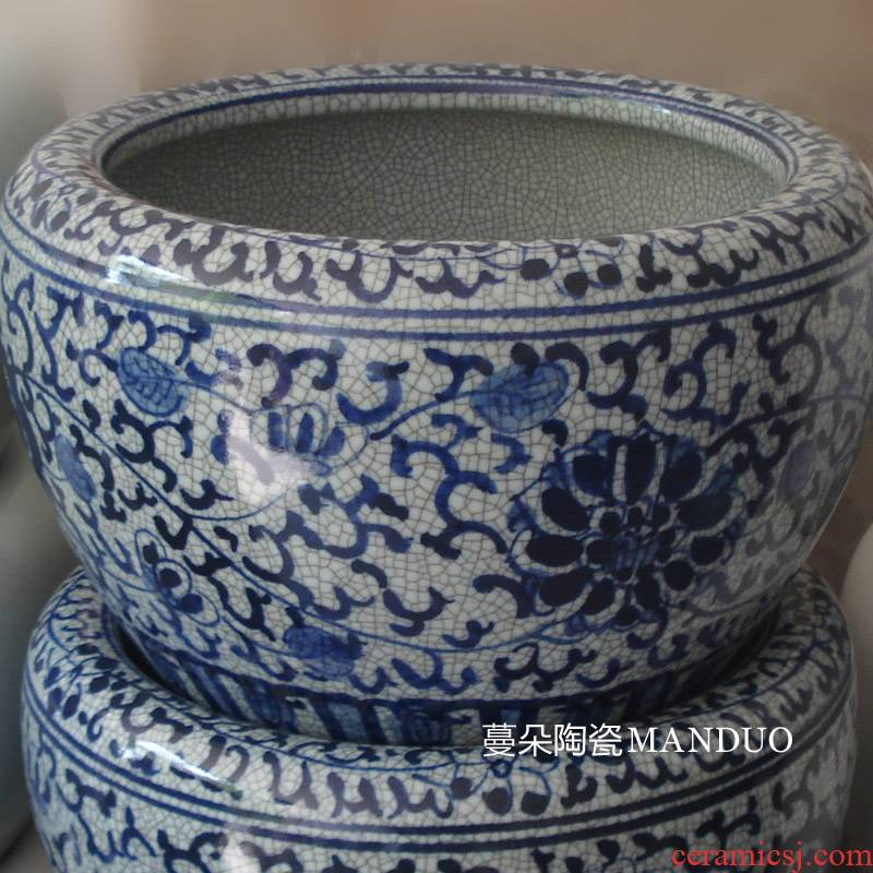 Archaize of jingdezhen blue and white porcelain crack glaze porcelain antique blue - and - white porcelain hand - made of cylinder