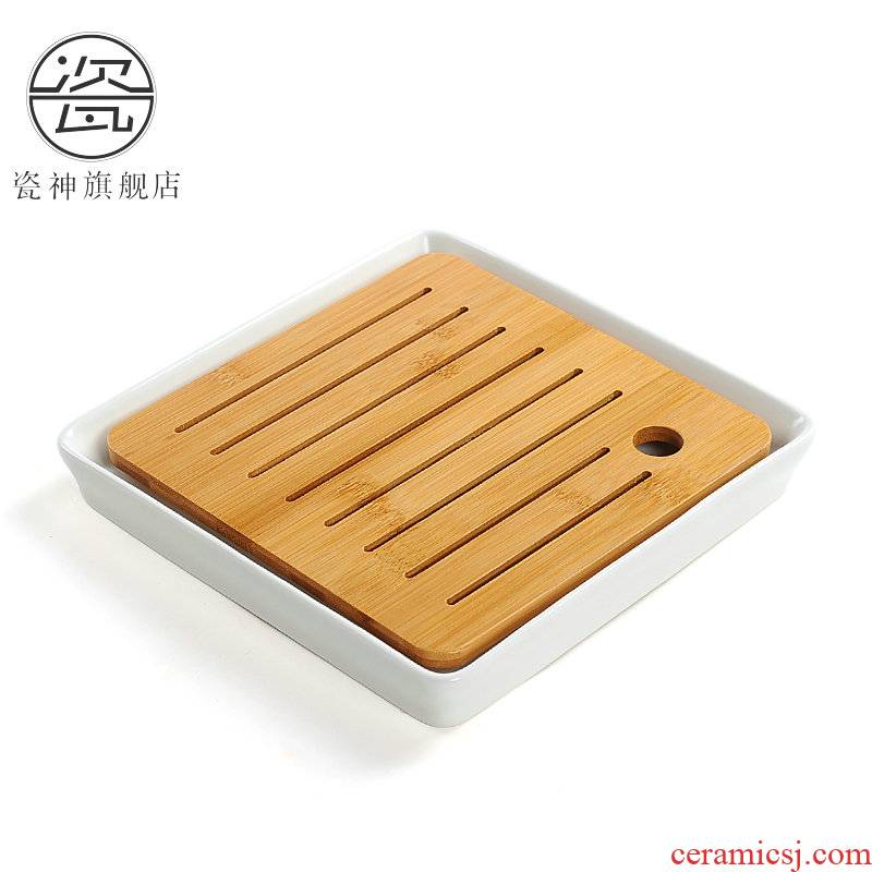 Porcelain ceramic household water storage type square dry tea tea tray was god small bamboo office Japanese tea saucer dish