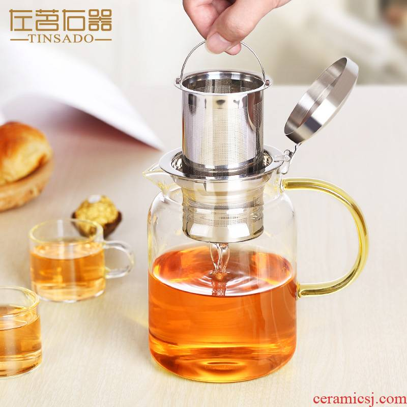 ZuoMing right implement large glass teapot tea separation stainless steel filter more flower pot heat single pot of tea