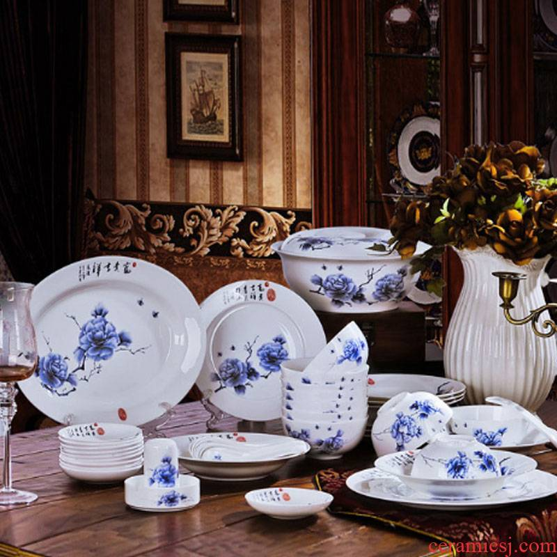Red xin 56 skull porcelain of jingdezhen ceramic - in glazed porcelain tableware suit Chinese style table fingers peony